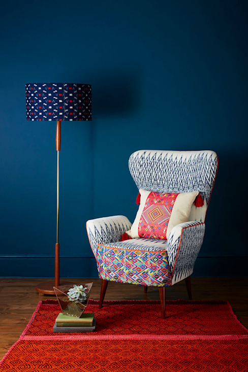 Caterina Ikat Wing Chair:  Living room by A Rum Fellow,