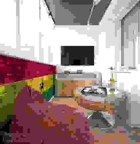 """Дизайн балкона в современном стиле в ЖК """"Янтарный"""" Балкон и терраса в стиле модерн от Студия интерьерного дизайна happy.design Модерн"""