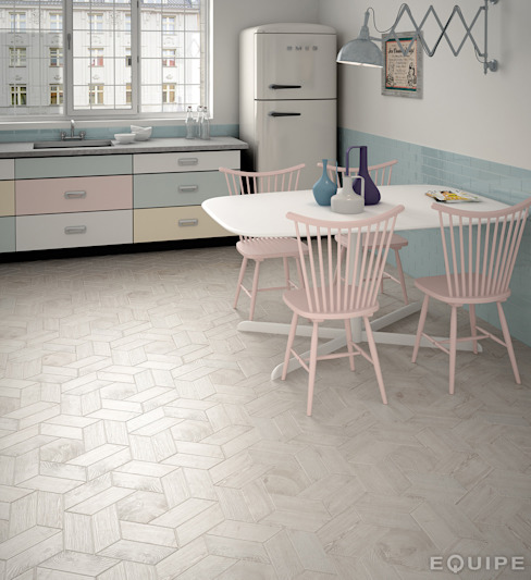 Hexawood Grey 17,5x20 / Chevron Grey Left&Right 9x20,5. de Equipe Ceramicas Escandinavo