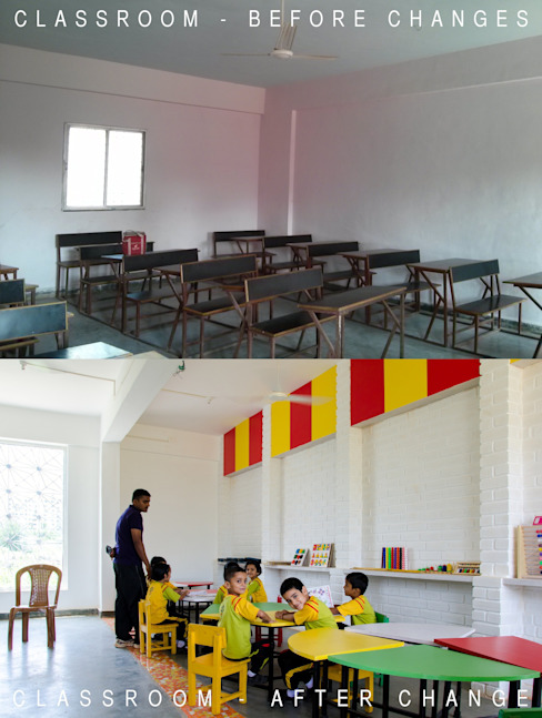 Classroom - before/after by M+P Architects Collaborative
