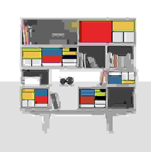 Bibliothèque FACE TO FACE MONDRIAN: Salon de style  par FAIRSENS