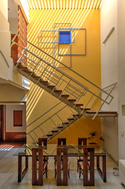 Staircase + Dining Modern houses by Studio An-V-Thot Architects Pvt. Ltd. Modern
