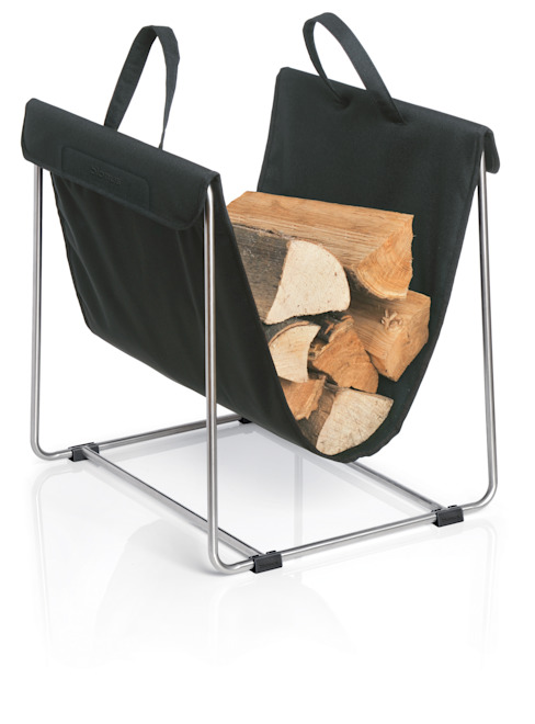 Holztrage  mit Ständer MADRA schwarz : modern  von Blomus,Modern
