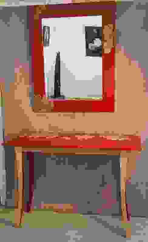"""Ensemble console et miroir """"Mer Rouge"""" par Léa Pack Moderne"""