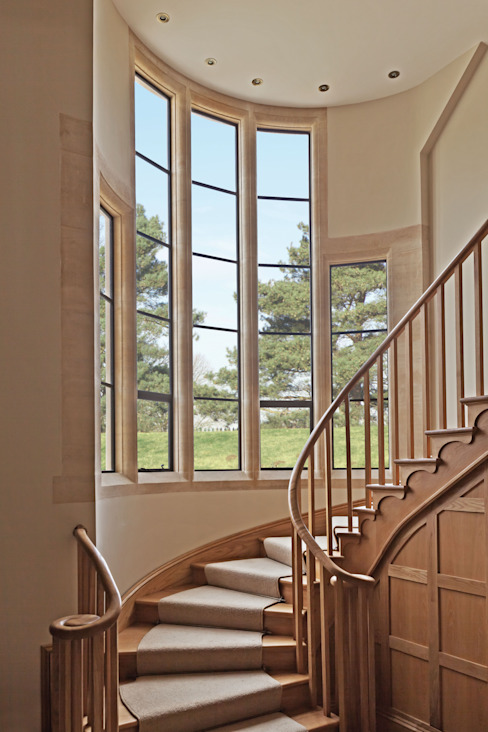 Advanced Bronze Casements on Staircase Architectural Bronze Ltd Windows & doors Windows Metal Black