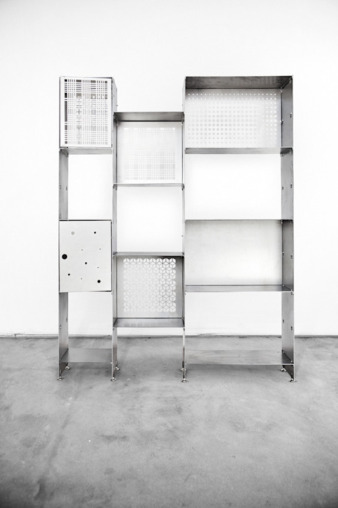 Libreria PRIMA versione acciaio naturale:  in stile industriale di Officine Tamborrino, Industrial