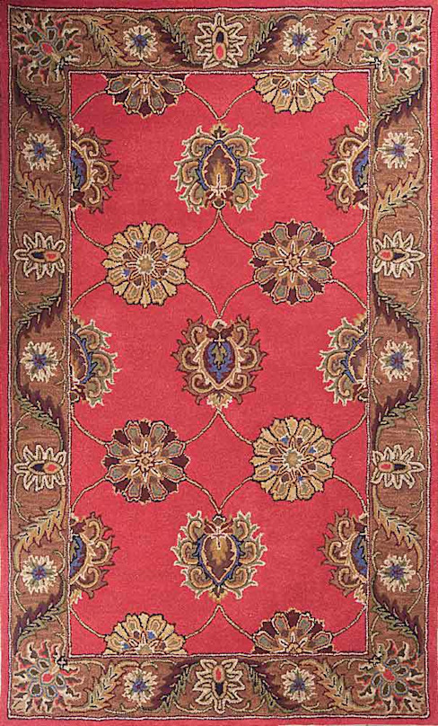 Oriental persian area rug handmade Red Brown carpet:  Living room by Midas craft
