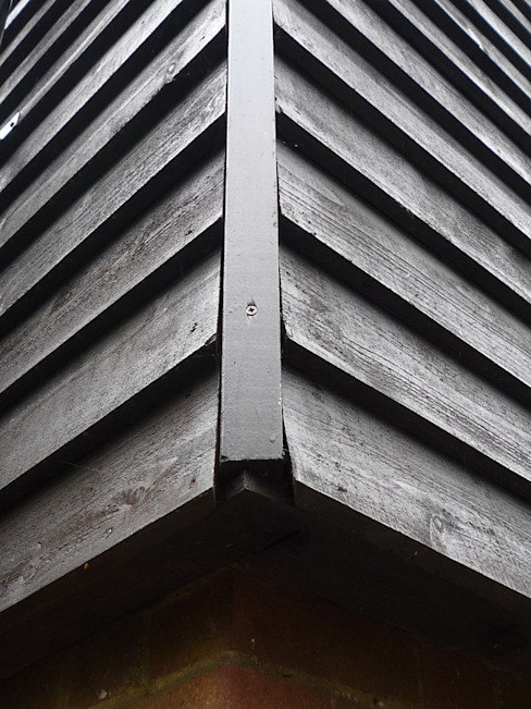 Thermally Insulated Black Timber Cladding Corner Detail by ArchitectureLIVE