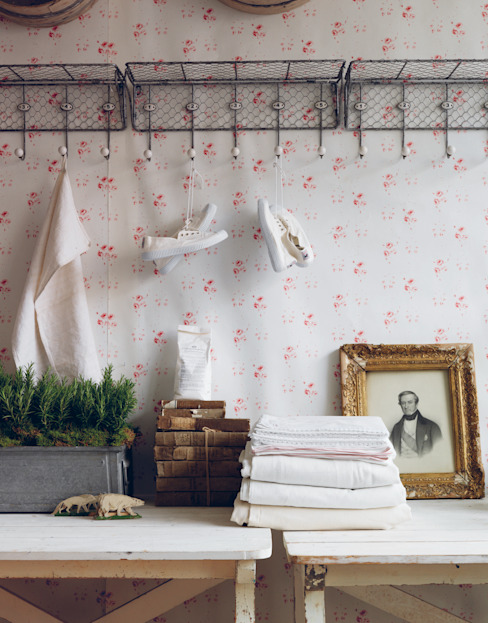 Catherine Rose Pink Wallpaper by Cabbages & Roses