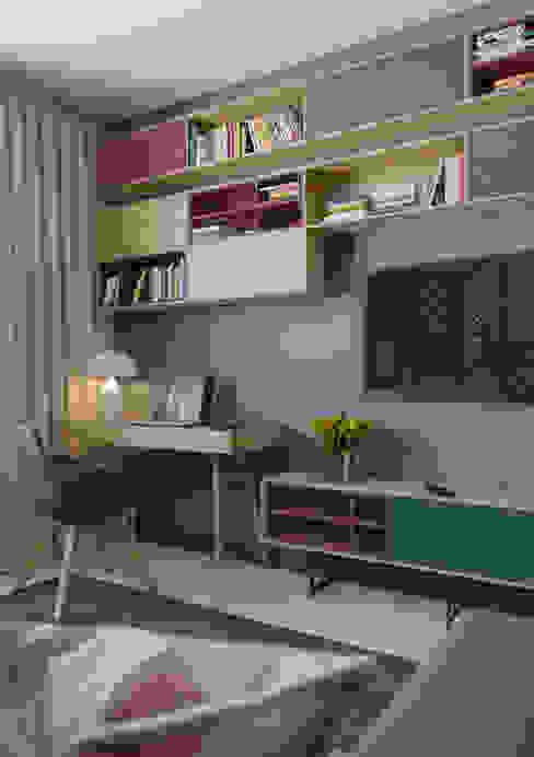 Яркая индивидуальность в типовой квартире Гостиная в скандинавском стиле от Anna Clark Interiors Скандинавский