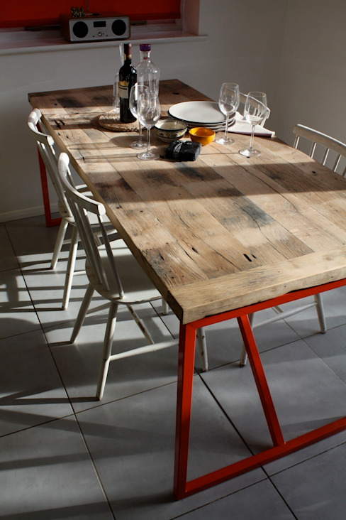 Kanteen Table in Reclaimed French Oak:  Dining room by Salvation Furniture,