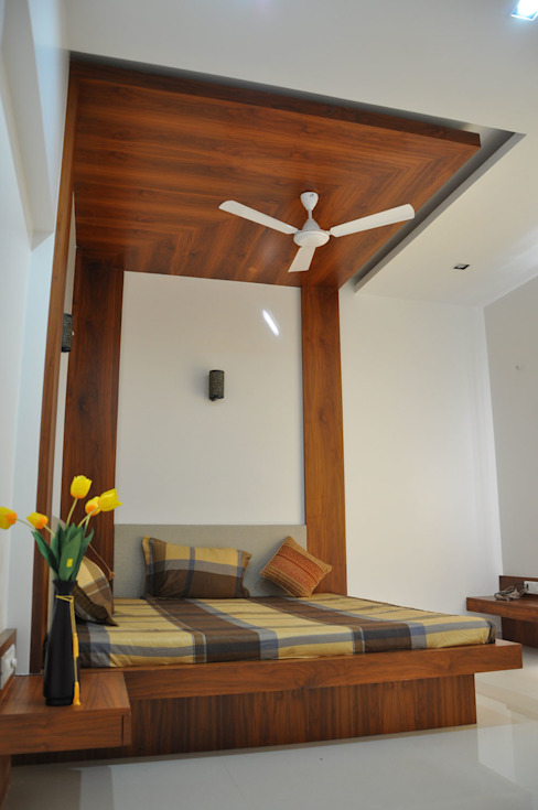 guest bed: modern  by manoj bhandari architects,Modern