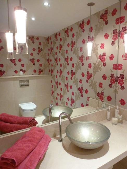Floral Cloakroom Modern living by Rachel Angel Design