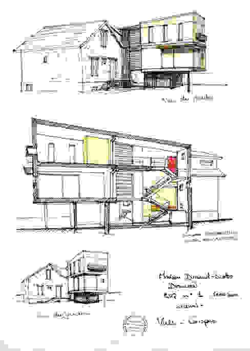 Dessin de l'esquisse initiale Maisons modernes par Atelier d'Architecture Marc Lafagne, architecte dplg Moderne
