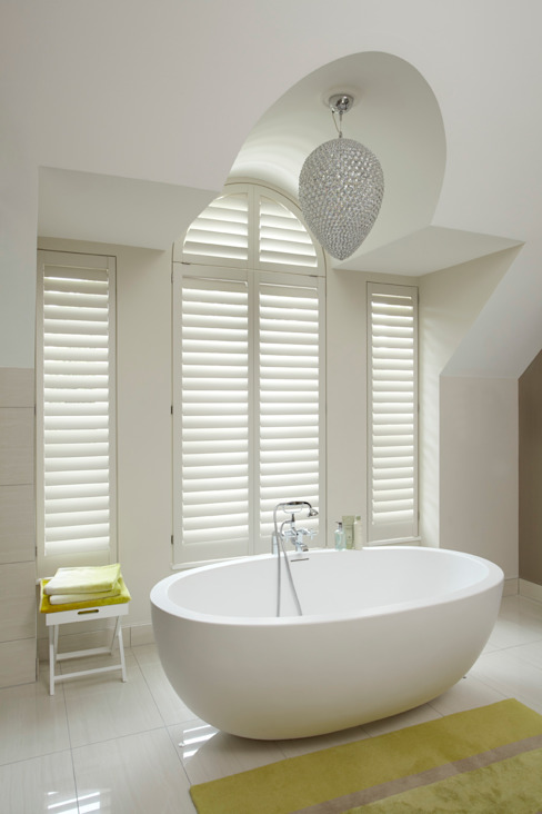 Bathroom shutters by The New England Shutter Company