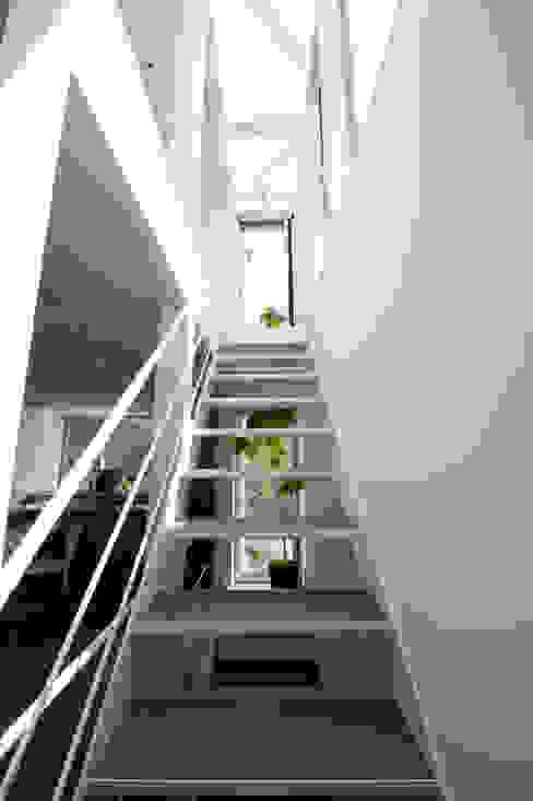 階段(2F~3F): 余田正徳/株式会社YODAアーキテクツが手掛けた廊下 & 玄関です。,モダン