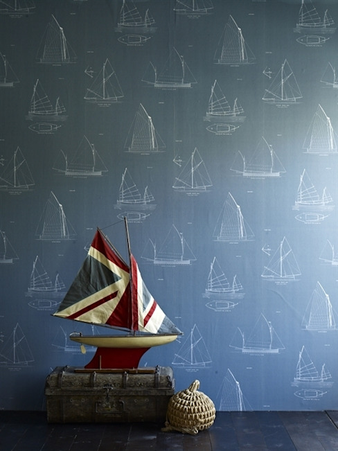 Boats Wallpaper - Mister Smith interiors por Mister Smith Interiors Eclético
