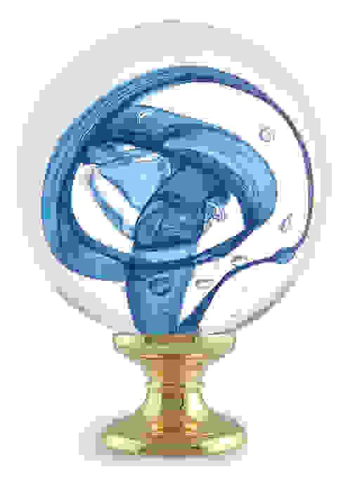 Boule d'escalier Tube de bulles bleu par Les Verreries de Bréhat Moderne