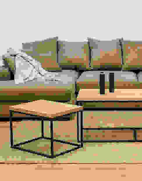 Sofá modular en tela color topo de Cube Deco Moderno