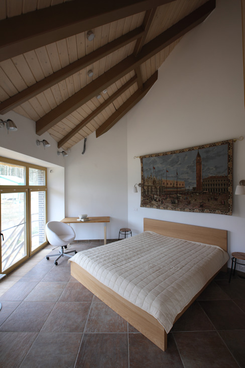 юрта в подмосковье Спальня в стиле кантри от Архитектурное бюро и дизайн студия 'Линия 8' Кантри