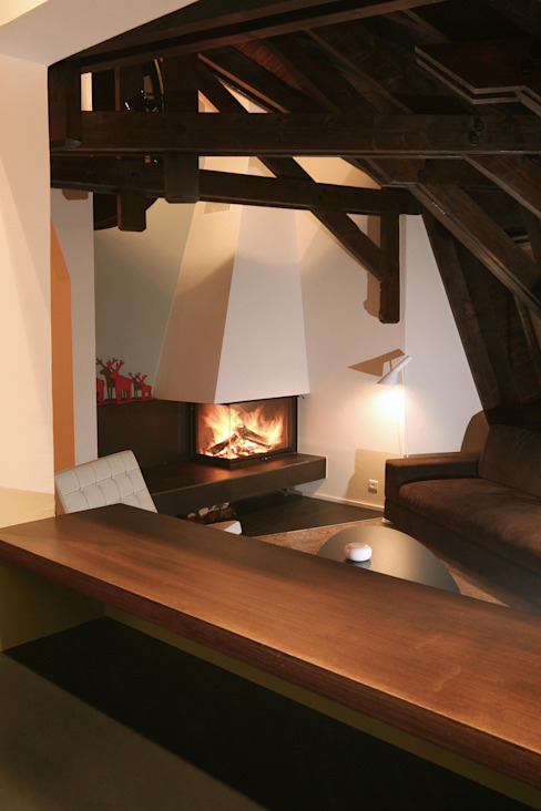 Projekty,  Salon zaprojektowane przez Florine Burger Architecte, Nowoczesny