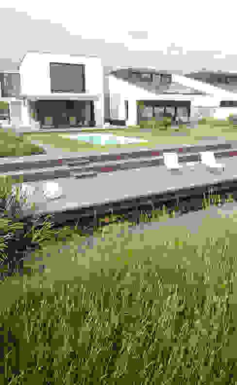 Grote vlakken en lange lijnen sluiten maken koppeling met polderlandschap Minimalistische tuinen van Andrew van Egmond (ontwerp van tuin en landschap) Minimalistisch