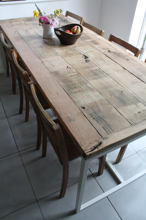 Deben Dining table in reclaimed French oak: industrial  by Salvation Furniture, Industrial