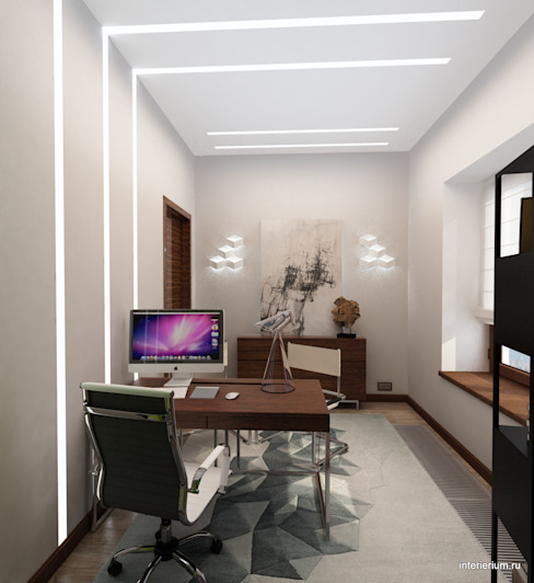 Дом в лесу Рабочий кабинет в стиле минимализм от INTERIERIUM Минимализм