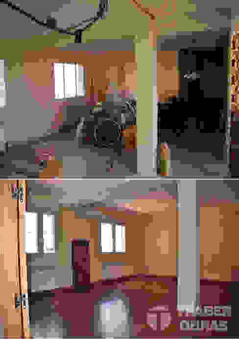 Reforma integral de vivienda por Traber Obras . Salón antes y después. de Traber Obras