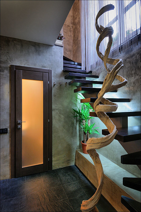Modern corridor, hallway & stairs by Студия дизайна интерьера Лелы Кавтарадзе Modern