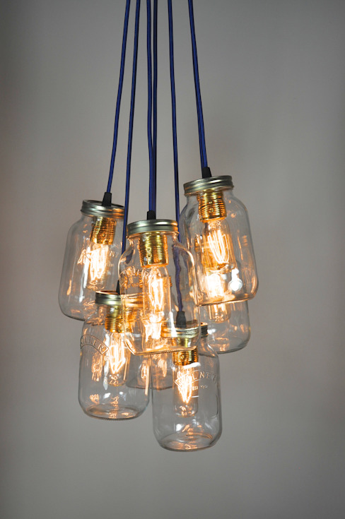 7 Jam Jar Pendant Light: industrial  by Little Mill House, Industrial