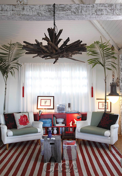Phòng khách phong cách Địa Trung Hải bởi AMMA PROJETOS Địa Trung Hải