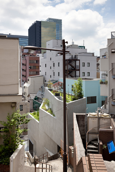 外観:階段から見下ろす ミニマルな 家 の プライム建築都市研究所 ミニマル