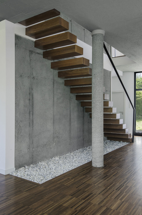 PAWEL LIS ARCHITEKCI Коридор, прихожая и лестница в модерн стиле