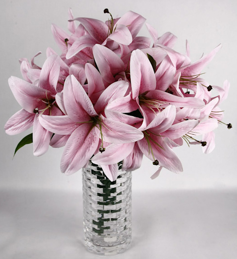 Pink Lily bunches in a minimalist arrangement: eclectic  by Uberlyfe,Eclectic
