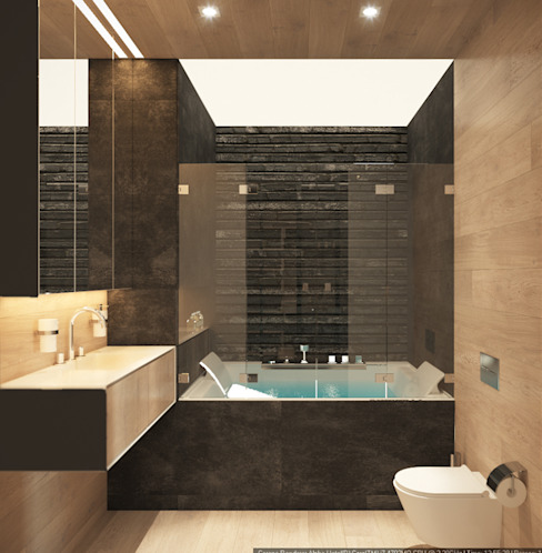 """Квартира-студия для холостяка """"Серый туман"""": Ванные комнаты в . Автор – ECOForma, Минимализм"""