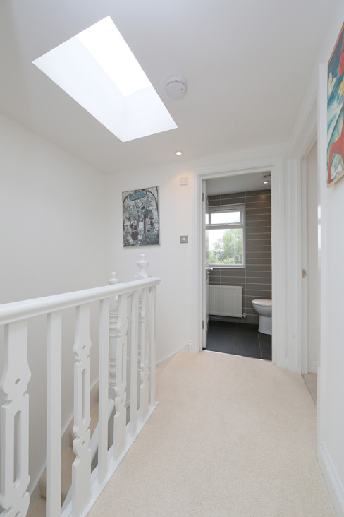 ​hip to gable loft conversion wimbledon Modern corridor, hallway & stairs by homify Modern