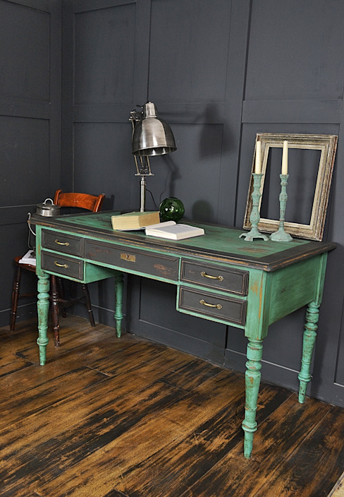 Black & Green Victorian 5 Drawer Desk The Treasure Trove Shabby Chic & Vintage Furniture Rustik