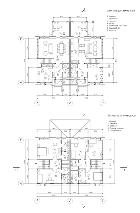 Двухквартирный жилой дом (дуплекс) с приусадебным участком. от Архитектурное бюро Киев