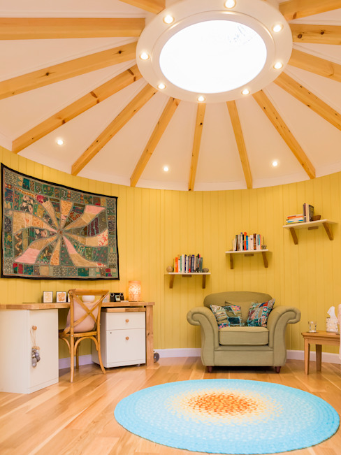 Interior of 4.5m diameter Therapy room in Kent Classic style garden by gemma5 Classic