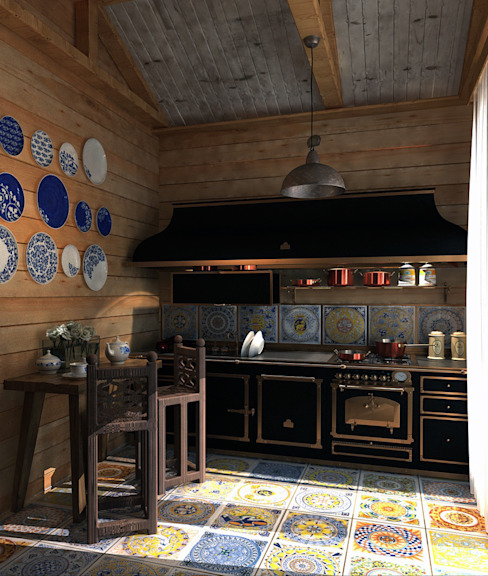A design of the private house in the settlement of the closed type .Anarchi&I. Maltsev Rustic style kitchen by AnARCHI Rustic
