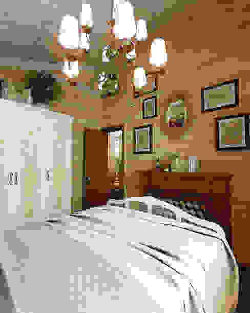 Дизайн частного дома в поселке закрытого типа. Anarchi&И.Мальцев AnARCHI Спальня в рустикальном стиле