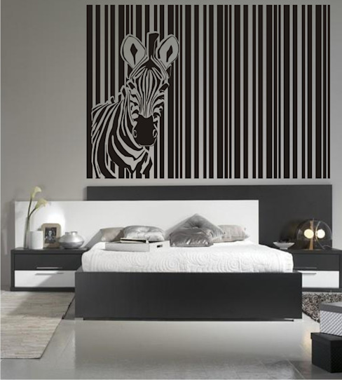 Cabecero de Cama cebra en vinilo decorativo de Visualvinilo Moderno