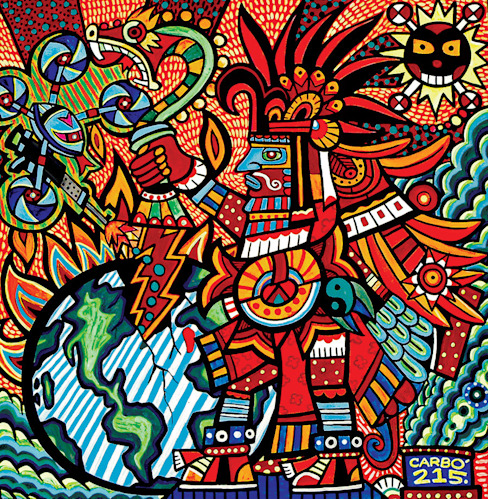 Huitzilopochtli y la conquista de la batalla interior de Jimmy Carbo Moderno
