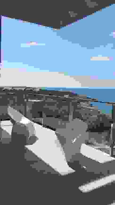 VNUTRI Minimalist balcony, veranda & terrace
