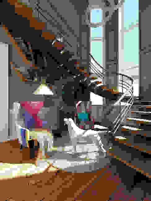 """Коттедж """"Голубое озеро"""" Коридор, прихожая и лестница в эклектичном стиле от ЙОХ architects Эклектичный"""
