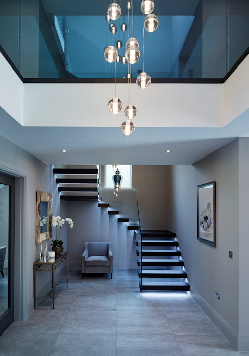 Floating tread staircase الممر الحديث، المدخل و الدرج من Railing London Ltd حداثي