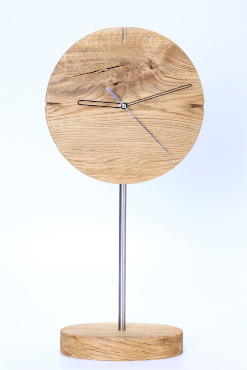 "Clock with brushed and oiled oak ""IO"" Meble Autorskie Jurkowski Living roomAccessories & decoration"