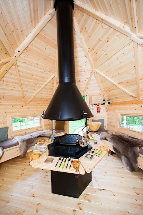 The interior of a 10m² Barbecue Cabin in a Derbyshire garden. Arctic Cabins Scandinavian style garden