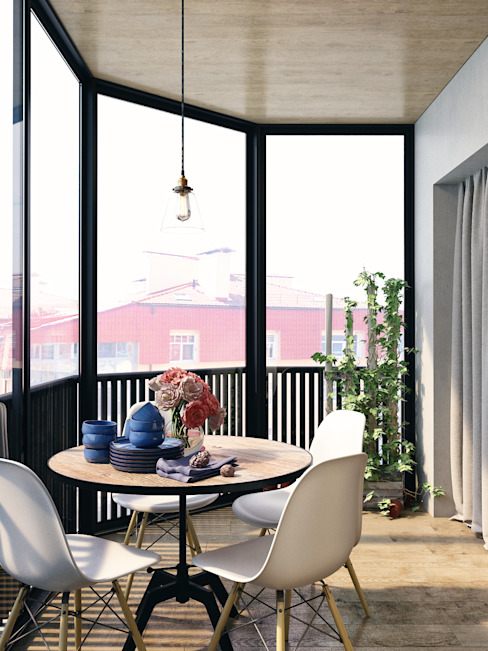 Industrial style balcony, veranda & terrace by HOMEFORM Студия интерьеров Industrial